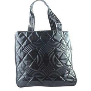 Chanel Black Quilted Patent Leather Tote 164543